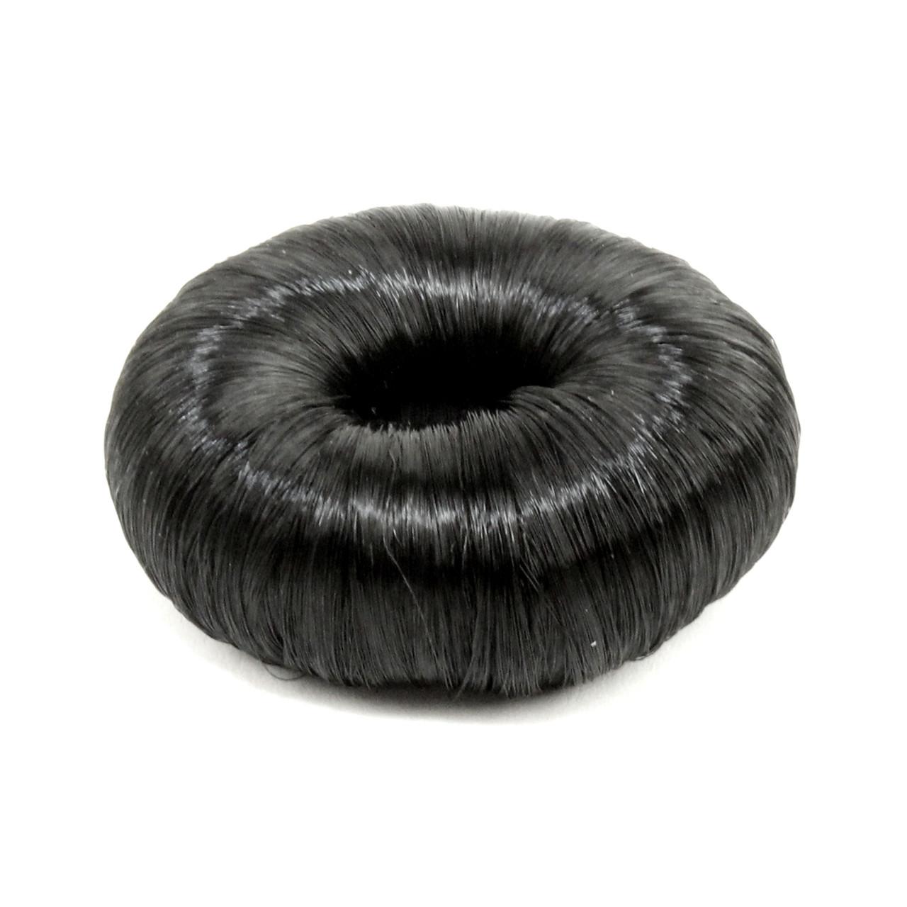 """Подкладка-кольцо для создания прически """"пучок"""" 5.5 см с синтетическими волосами черная"""