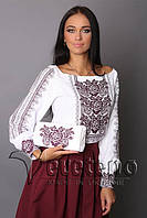 Жіноча вишиванка з льону, однотонний темно вишневий візерунок.