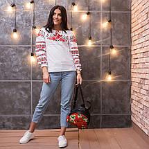 Женская сорочка с вышивкой Три мака красная котон , фото 2