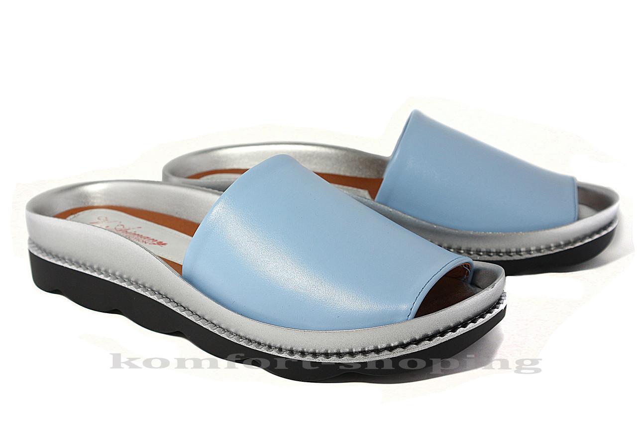 Женские шлепанцы кожаные, голубые V 1189