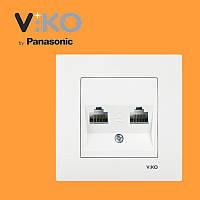 Розетка компьютерная двойная (2xRJ45, Cat5e) VIKO Karre Белый