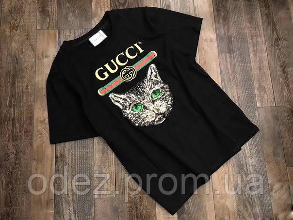 974e0cfa9d65 Женская футболка Гуччи гучи Gucci с котом, кошкой - Интернет-магазин одежды,  обуви