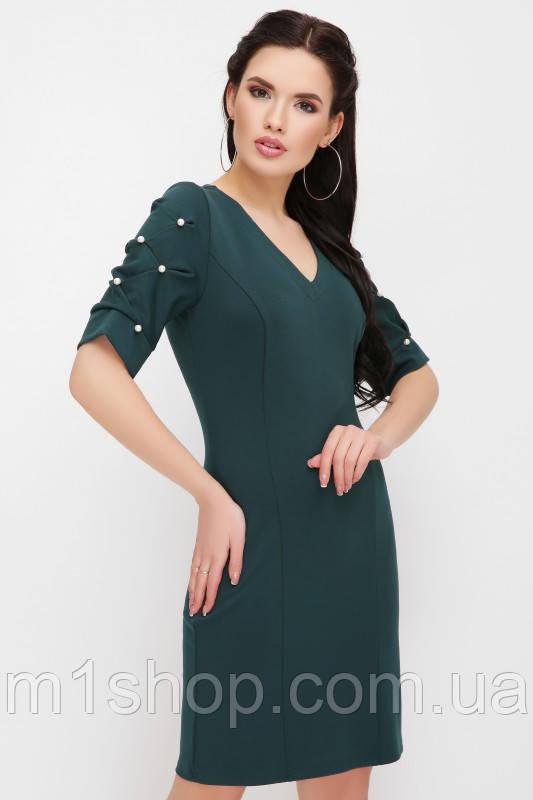 Женское платье с бусинами на рукавах(Caroline fup)