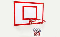 Щит баскетбольный с кольцом и сеткой UR LA-6297 (щит-металл,р-р 62x50см, кольцо d-30см, сетка NY)
