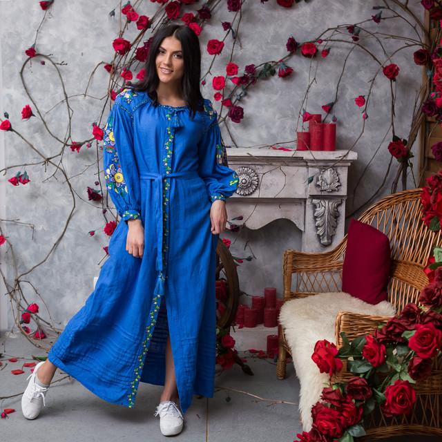 Льняное платье вышиванка Колорит синие