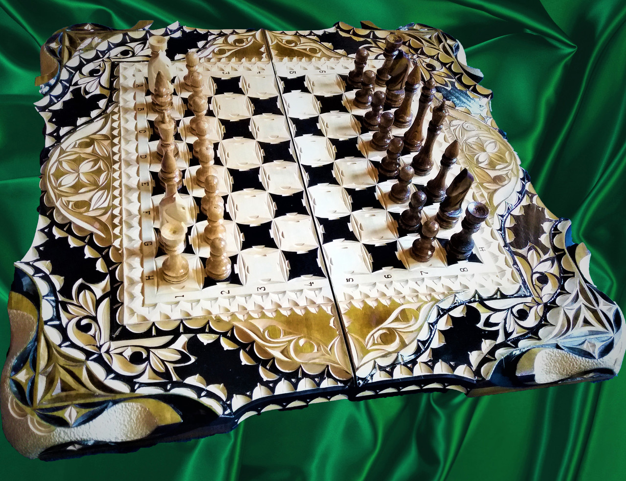 Шахматы-нарды в резьбе подарочные