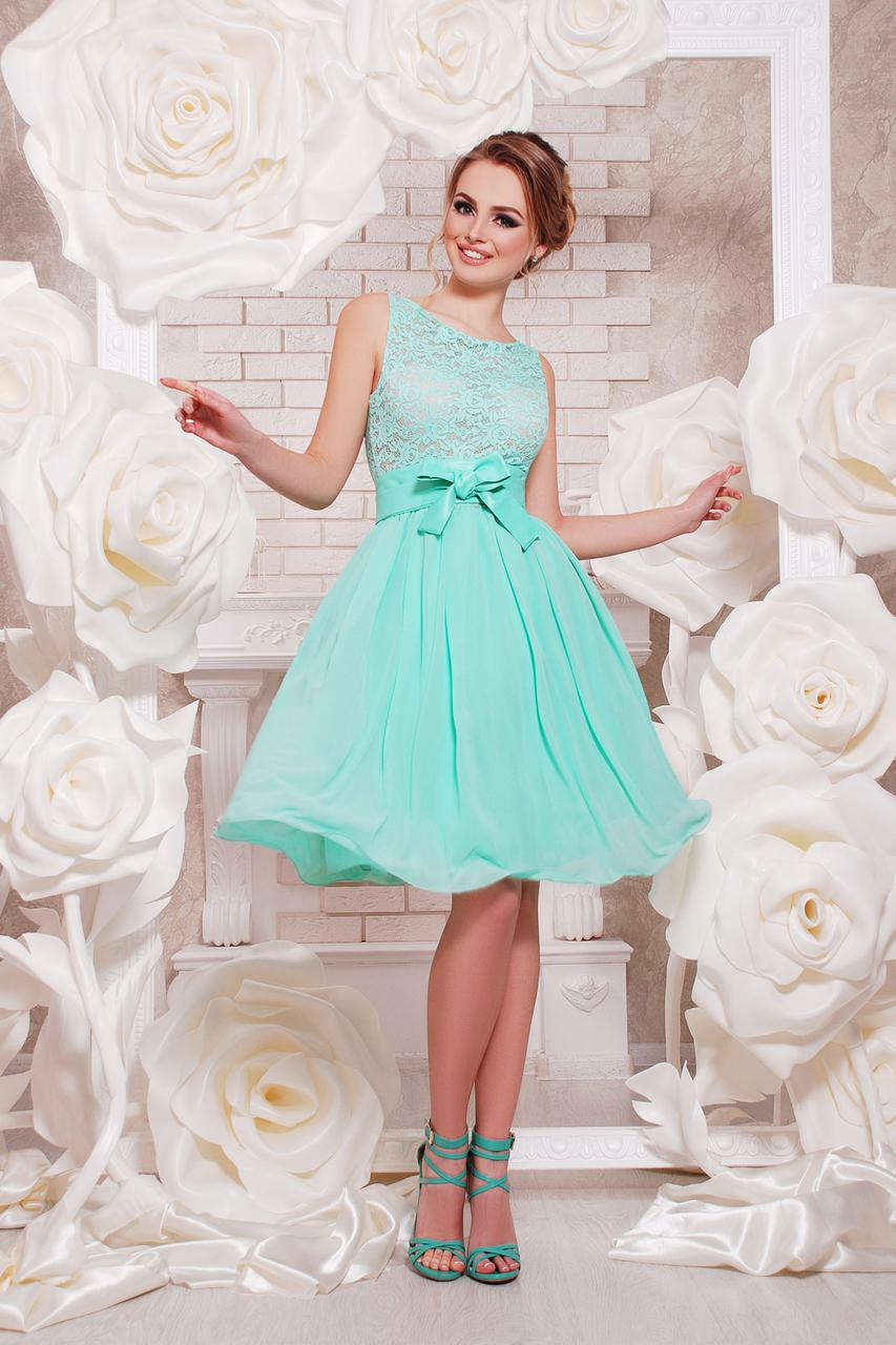 Короткое вечернее платье из шифона и гипюра на выпускной цвет мята