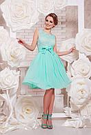 Короткое вечернее платье из шифона и гипюра на выпускной цвет мята, фото 1