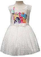 """Детское праздничное платье """"My little Pony..."""", белое, фото 1"""