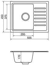 Кухонная мойка кварц 45*56 см VANKOR Lira LMP 02.55 Black, фото 3