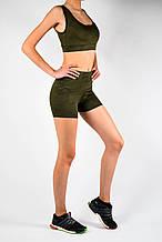 Жіночий спортивний комплект хакі еластан камуфляжний принт