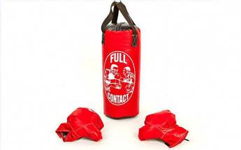 Боксерский набор детский (перчатки+мешок) M PVC UR BO-4675-M (мешок h-42см, d-18см, цвета в ассортименте)