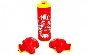 Боксерский набор детский (перчатки+мешок) S PVC UR BO-4675-S (мешок h-39см, d-14см, цвета в ассортименте)