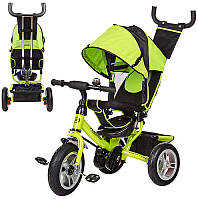 Трехколесный велосипед с надувными колесами и родительской ручкой 3113-4А, зеленый