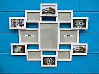 Деревянная эко мультирамка, коллаж #113 белый., фото 1