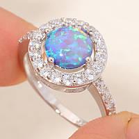 Красивое кольцо с огненным опалом в серебре. Кольцо огненный опал 16,5 размер, фото 1