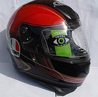 Шлем Мото красно- черный YEMA