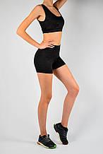 Женский спортивный комплект черный эластан камуфляжный принт