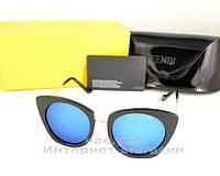 Женские солнцезащитные очки Fendi зеркальные синие модель 2019 года молодежные реплика