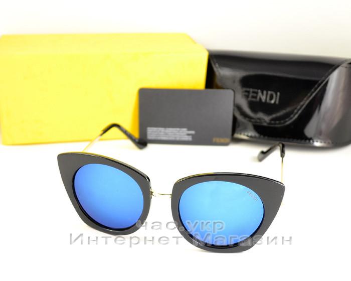 Женские солнцезащитные очки Fendi зеркальные синие модель 2020 года молодежные реплика