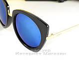 Женские солнцезащитные очки Fendi зеркальные синие модель 2020 года молодежные реплика, фото 2