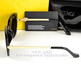 Женские солнцезащитные очки Fendi зеркальные синие модель 2020 года молодежные реплика, фото 3