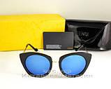 Женские солнцезащитные очки Fendi зеркальные синие модель 2020 года молодежные реплика, фото 5
