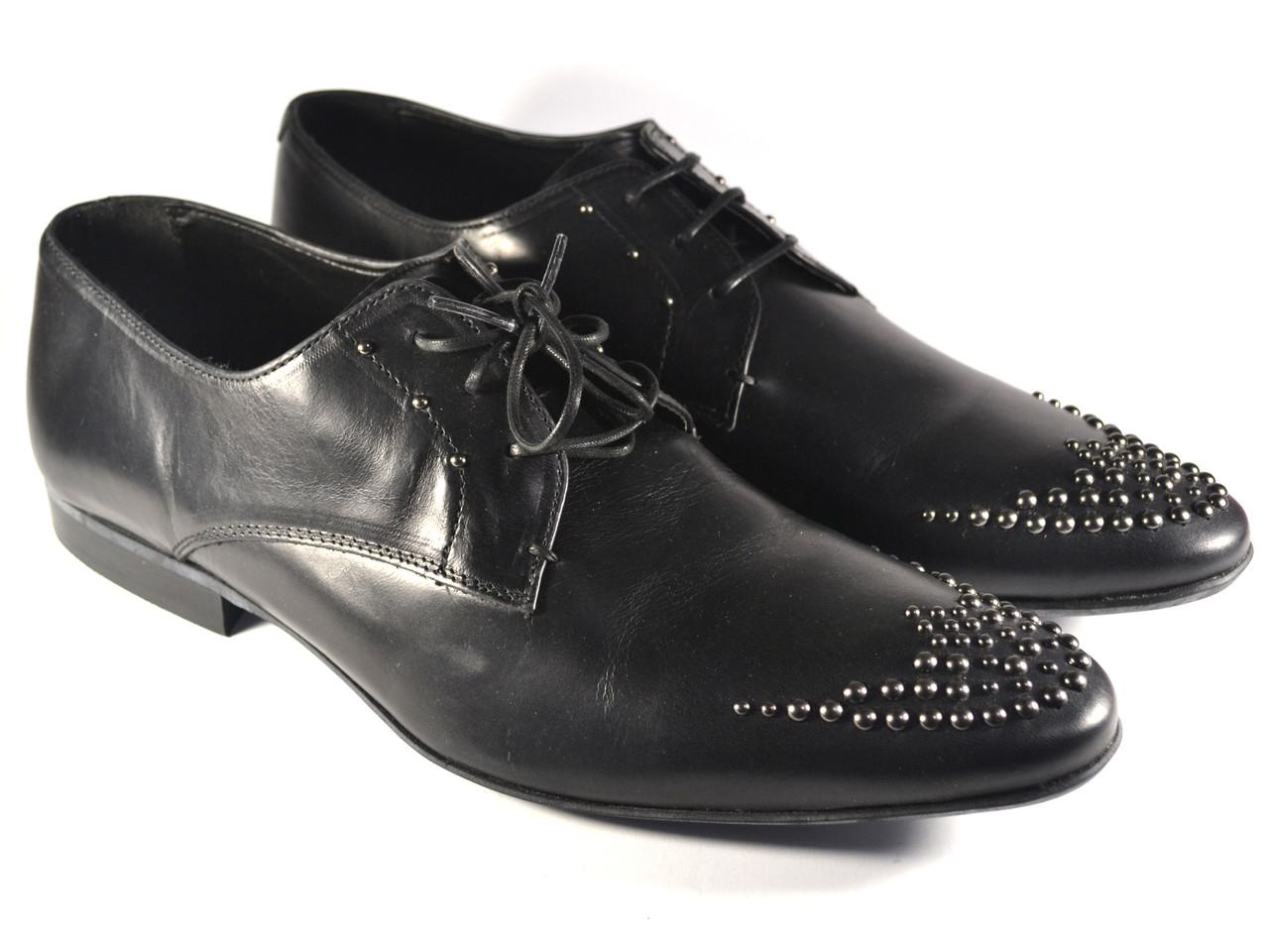 Туфли мужские дерби кожа ASOS Lace Up shoes in Black leather whith Stud оригинал