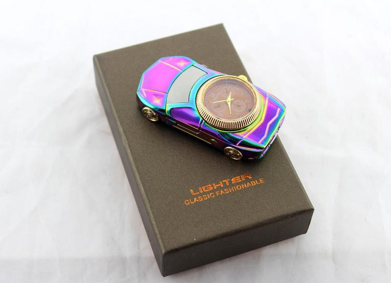 Спиральная зажигалка с часами USB 813, Зажигалка с юсб зарядкой,Сувенирная зажигалка, Зажигалка-машина+часы