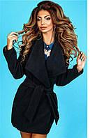 Пальто женское из кашемира под пояс в большом размере, фото 1