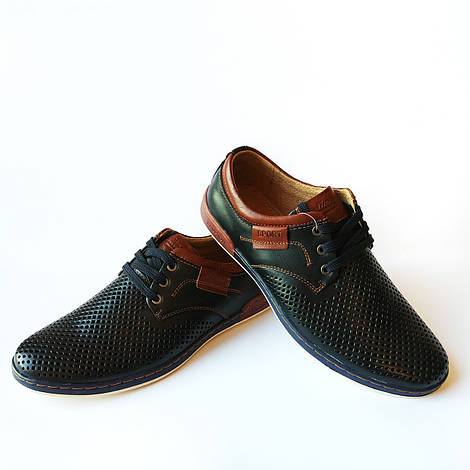 Кожаная мужская летняя обувь : мокасины в дырочку, синего цвета, недорого, фабрика Kangfu