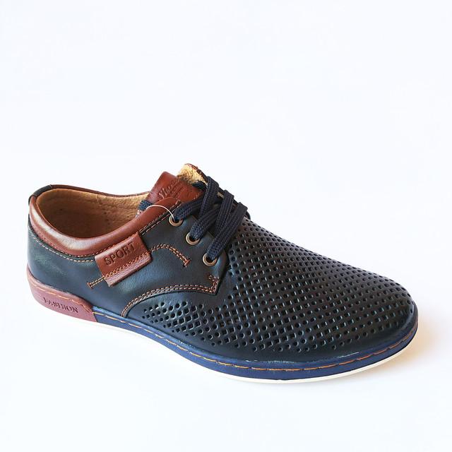 Повседневная молодежная летняя мужская обувь из Китая : кожаные мокасины, синего цвета со сквозной дырочкой, на шнуровке, недорого