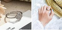 """Кольцо с маленькими камнями """"Клевер"""", женское кольцо универсального размера"""