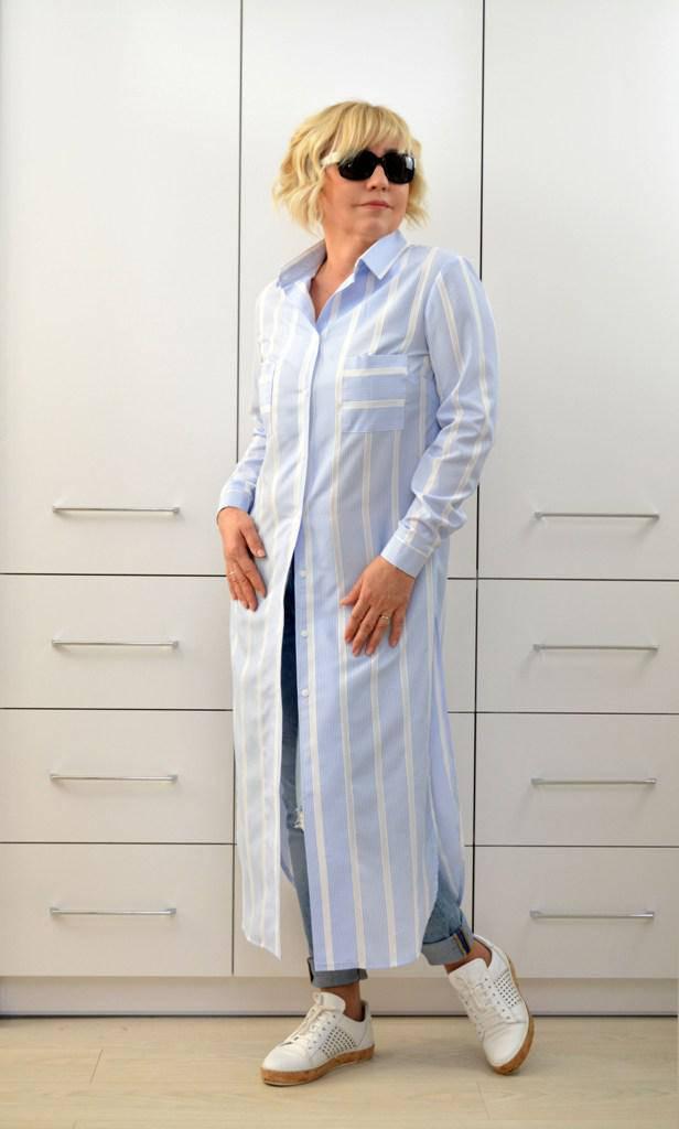 Блуза длинная с разрезами  - Модель 1702-2 (50р) (ф)