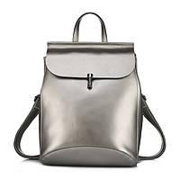 Рюкзак сумка (трансформер) женский городской кожаный  (серебро), фото 1