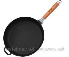 Сковорода БИОЛ Оптима 0122 (диаметр 220 мм) чугунная со съёмной деревянной ручкой, фото 2
