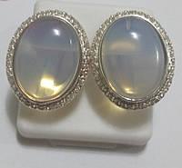 Серьги Атлантида из серебра с лунным камнем, фото 1