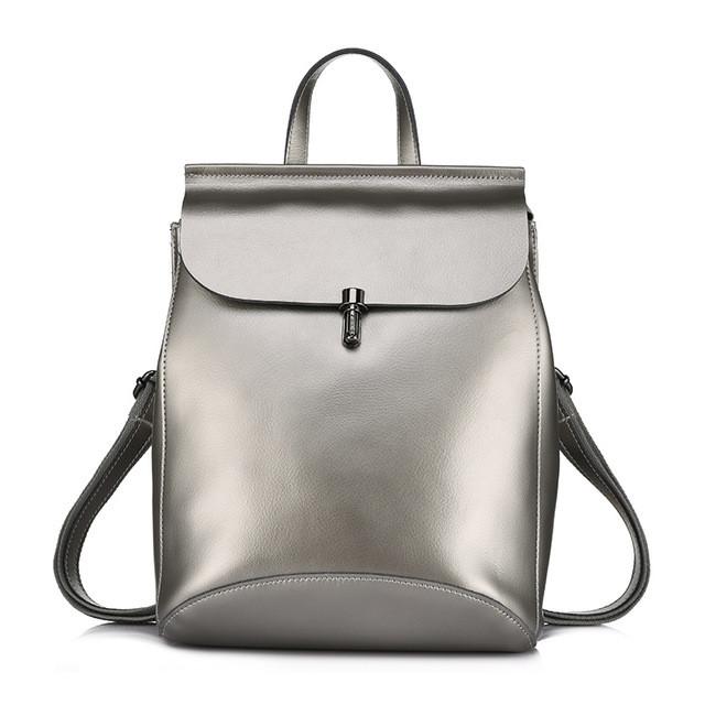 20c727adac92 Рюкзак сумка (трансформер) женский городской кожаный (серебро) -  Интернет-магазин «