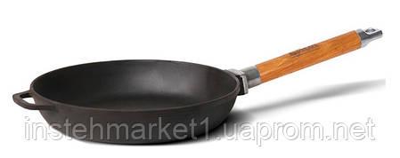 Сковорода БИОЛ Оптима 0124 (диаметр 240 мм) чугунная, съёмная деревянная ручка, фото 2