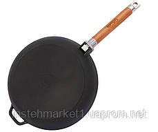 Сковорода БИОЛ Оптима 0124 (диаметр 240 мм) чугунная, съёмная деревянная ручка, фото 3