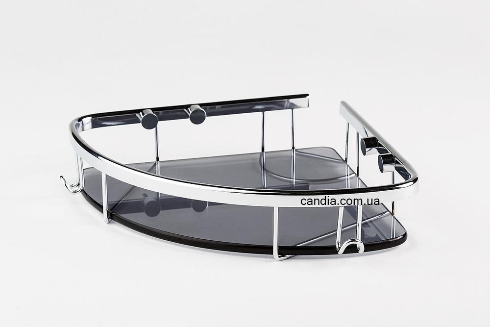Полка для ванной со стеклом 22 х 22 см с заглушками