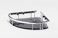 Полиця для ванної зі склом 22 х 22 см з заглушками, фото 1