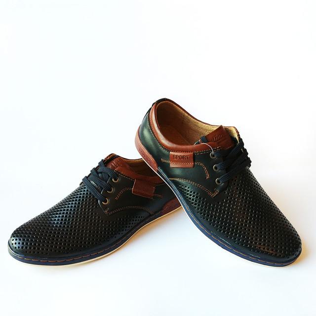 Повседневная летняя мужская обувь из Китая : кожаные мокасины, синего цвета, на шнуровке, недорого