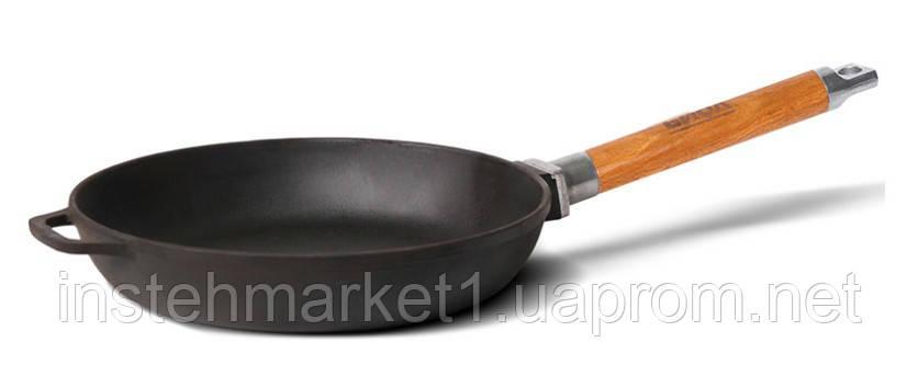 Сковорода БИОЛ Оптима 0126 (диаметр 260 мм) чугунная, съёмная деревянная ручка