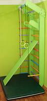Детский спортуголок цветной полный комплект, мат темно-зеленый, шведская стенка