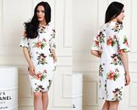 Красивое удобное платье из костюмного крепа  р.48,50,52,54 цвет белый (688)