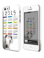 Чехол для iPhone 4/4s/5/5s/5с календарь на  2015 год овцы