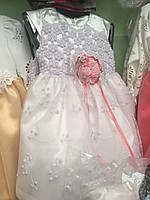 ef0f74c2981 Платье детское белое нарядное с вышивкой декорированное цветами из ткани на  девочку