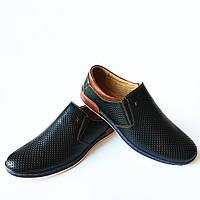 Мужская летняя обувь : мокасины, синего цвета, доступные в цене с натуральной кожи в дырочку, без застежки