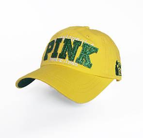 Женская желтая бейсболка Pink- №3777